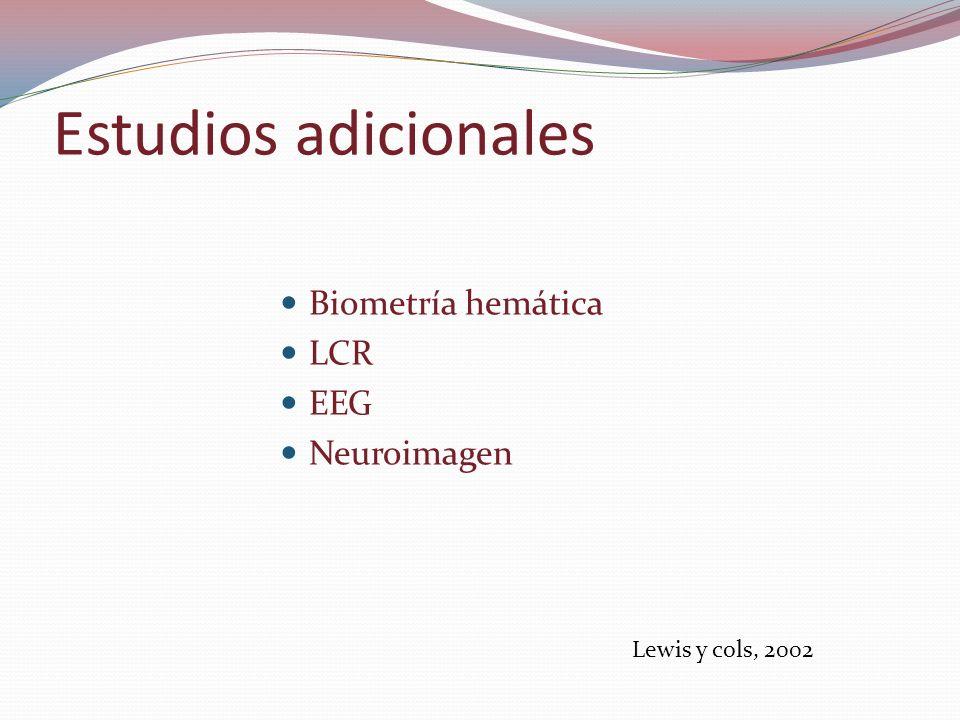 Estudios adicionales Biometría hemática LCR EEG Neuroimagen