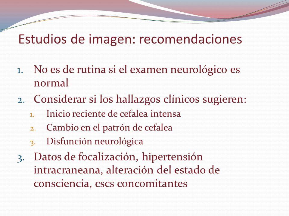 Estudios de imagen: recomendaciones