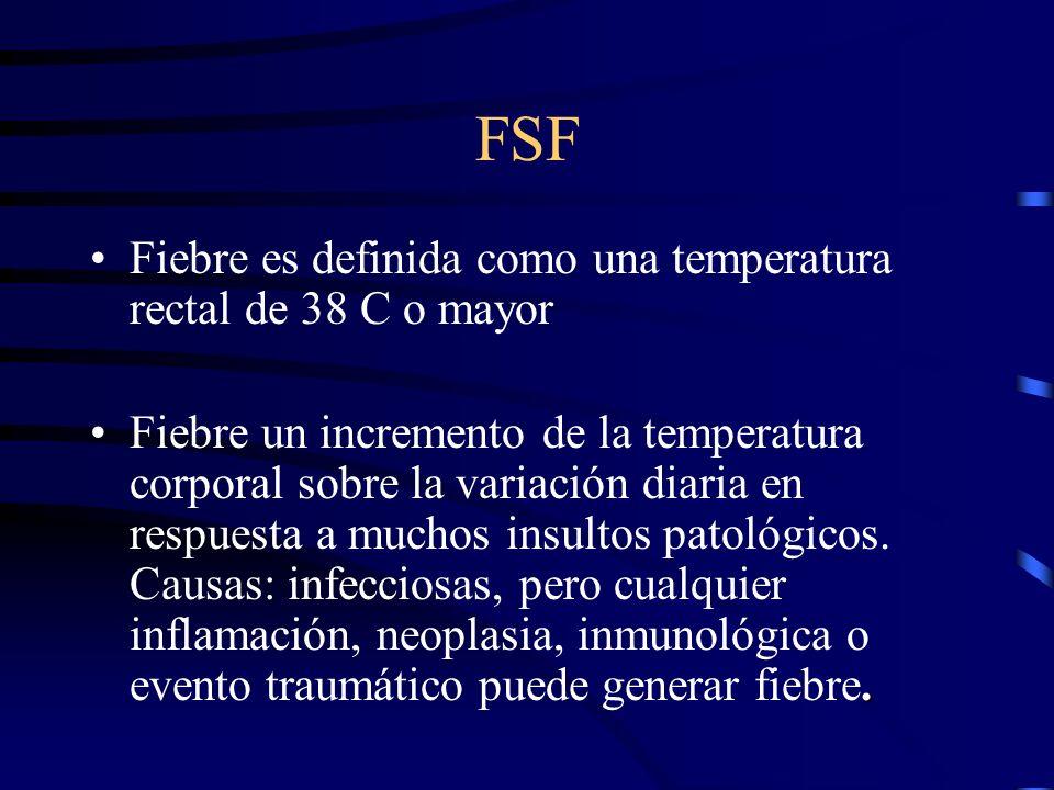 FSF Fiebre es definida como una temperatura rectal de 38 C o mayor