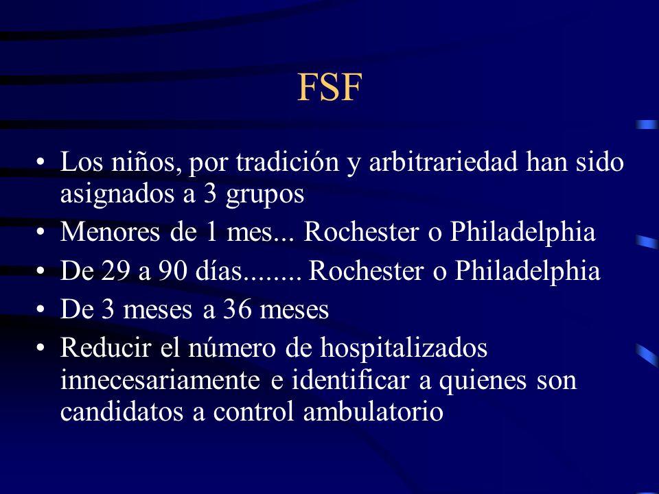 FSF Los niños, por tradición y arbitrariedad han sido asignados a 3 grupos. Menores de 1 mes... Rochester o Philadelphia.