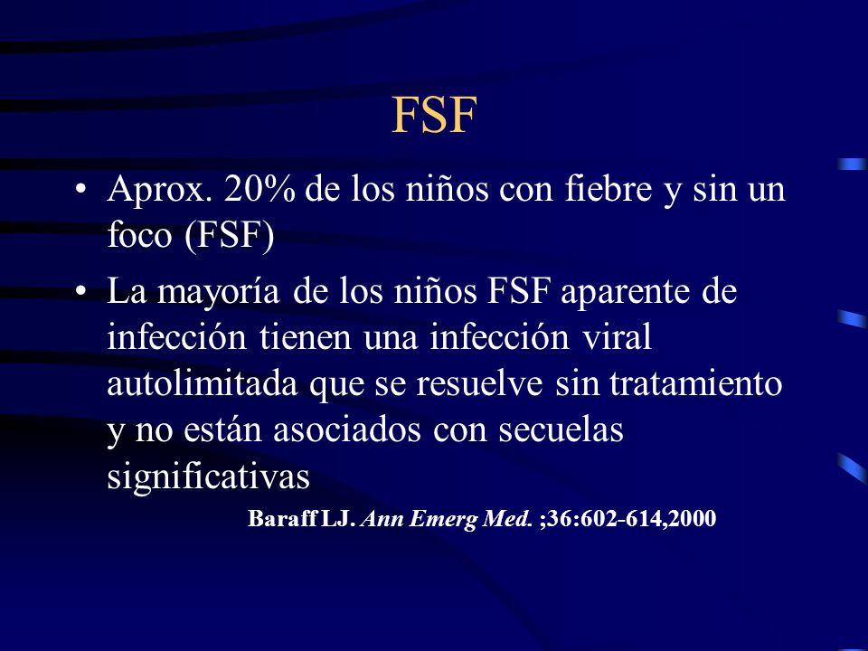 FSF Aprox. 20% de los niños con fiebre y sin un foco (FSF)