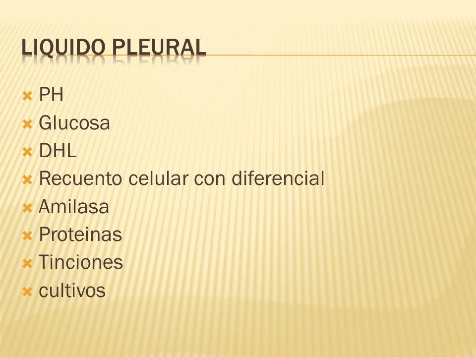 LIQUIDO PLEURAL PH Glucosa DHL Recuento celular con diferencial