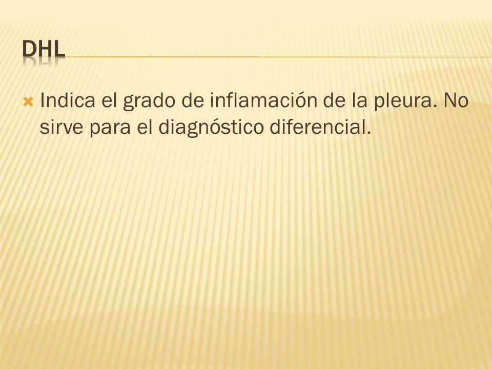 DHL Indica el grado de inflamación de la pleura. No sirve para el diagnóstico diferencial.