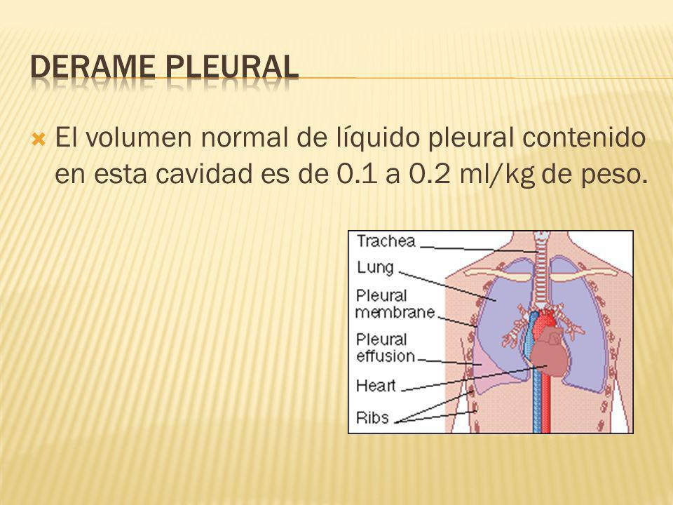 DERAME PLEURAL El volumen normal de líquido pleural contenido en esta cavidad es de 0.1 a 0.2 ml/kg de peso.