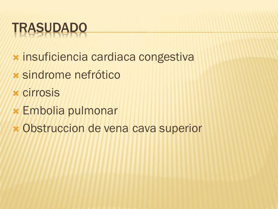 TRASUDADO insuficiencia cardiaca congestiva sindrome nefrótico