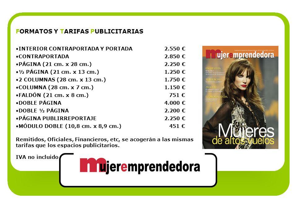 FORMATOS Y TARIFAS PUBLICITARIAS