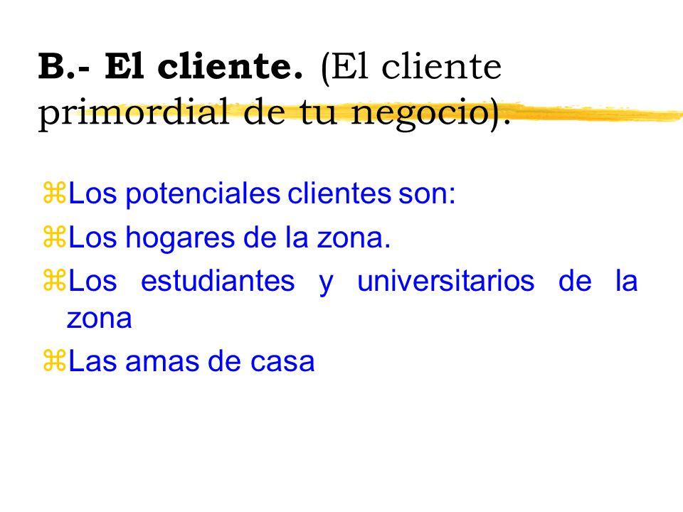 B.- El cliente. (El cliente primordial de tu negocio).