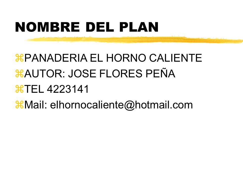 NOMBRE DEL PLAN PANADERIA EL HORNO CALIENTE AUTOR: JOSE FLORES PEÑA