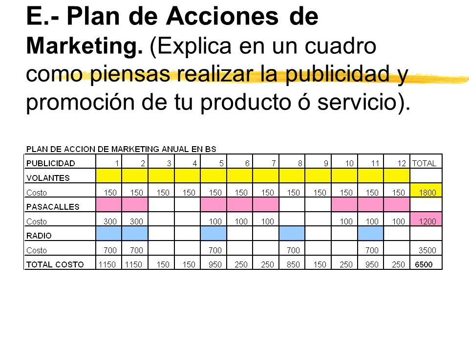 E. - Plan de Acciones de Marketing