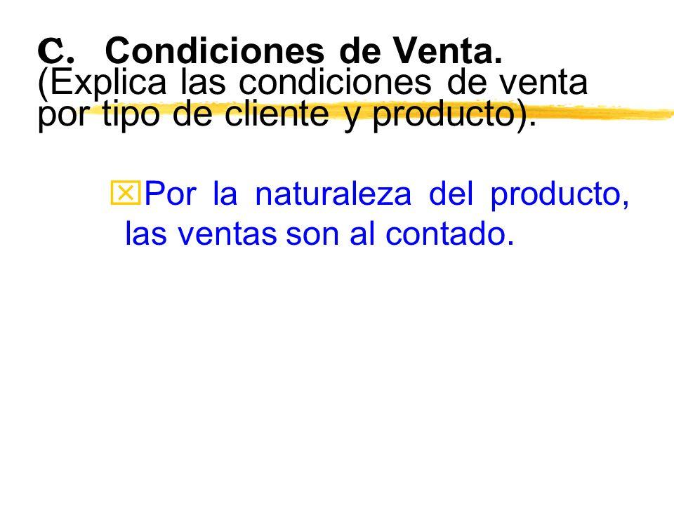 C. Condiciones de Venta. (Explica las condiciones de venta por tipo de cliente y producto).