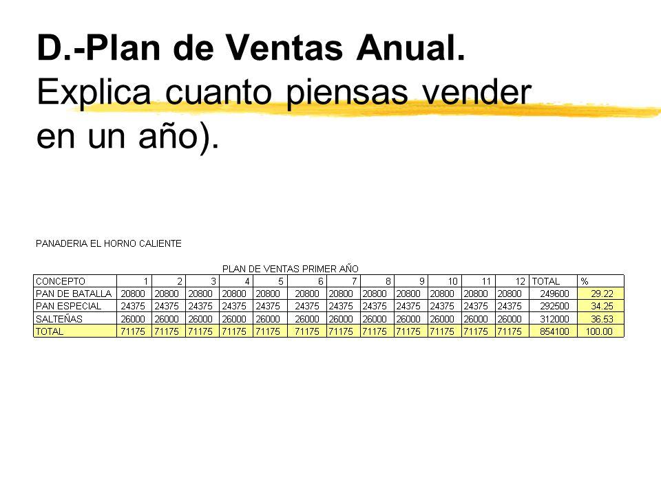 D.-Plan de Ventas Anual. Explica cuanto piensas vender en un año).
