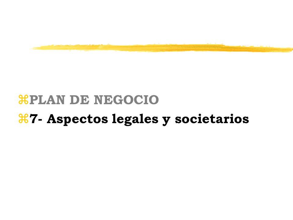 PLAN DE NEGOCIO 7- Aspectos legales y societarios