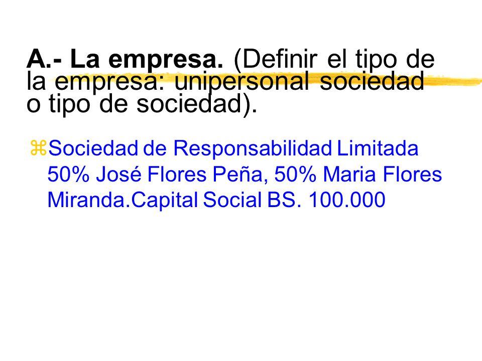 A.- La empresa. (Definir el tipo de la empresa: unipersonal sociedad o tipo de sociedad).
