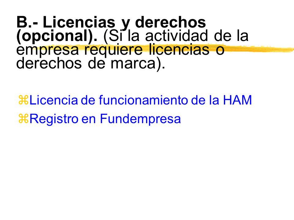 B. - Licencias y derechos (opcional)