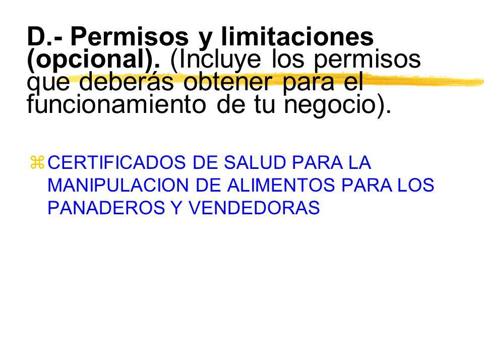 D. - Permisos y limitaciones (opcional)