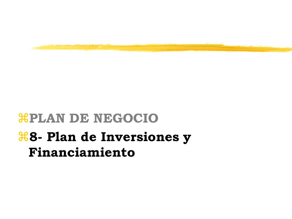 PLAN DE NEGOCIO 8- Plan de Inversiones y Financiamiento