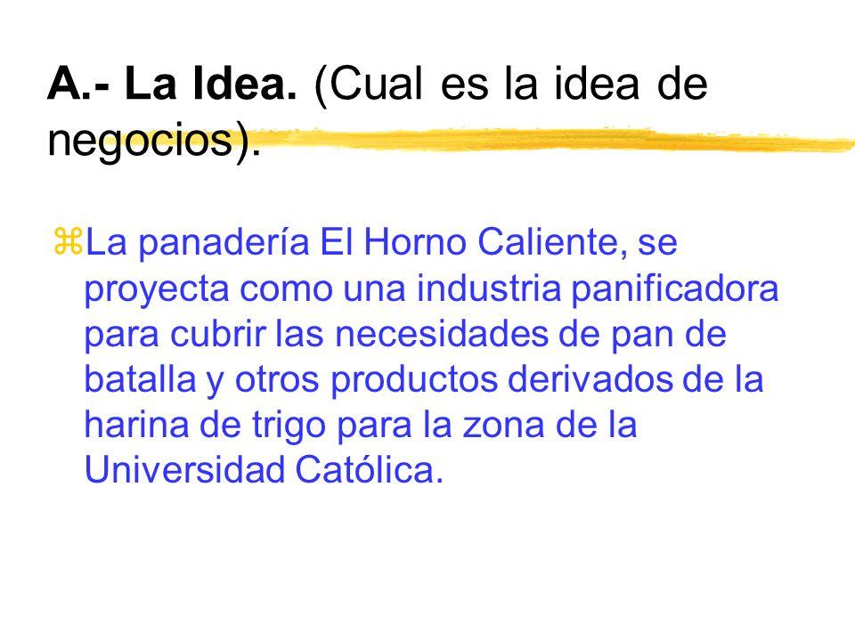 A.- La Idea. (Cual es la idea de negocios).