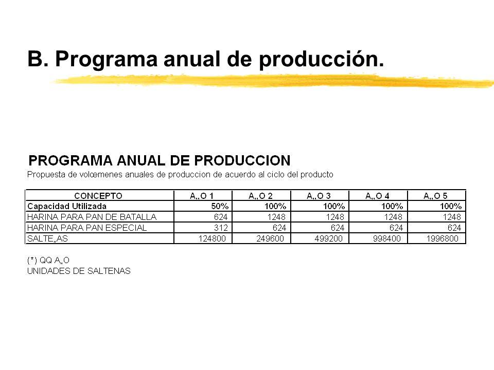 B. Programa anual de producción.
