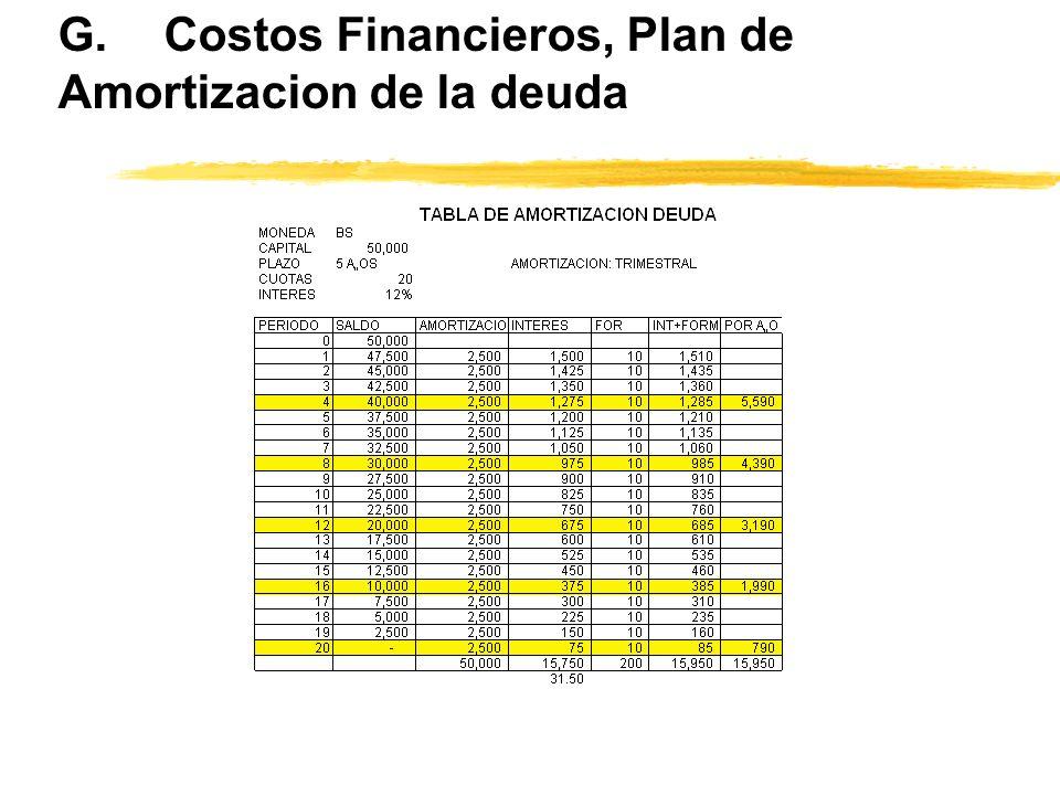 G. Costos Financieros, Plan de Amortizacion de la deuda