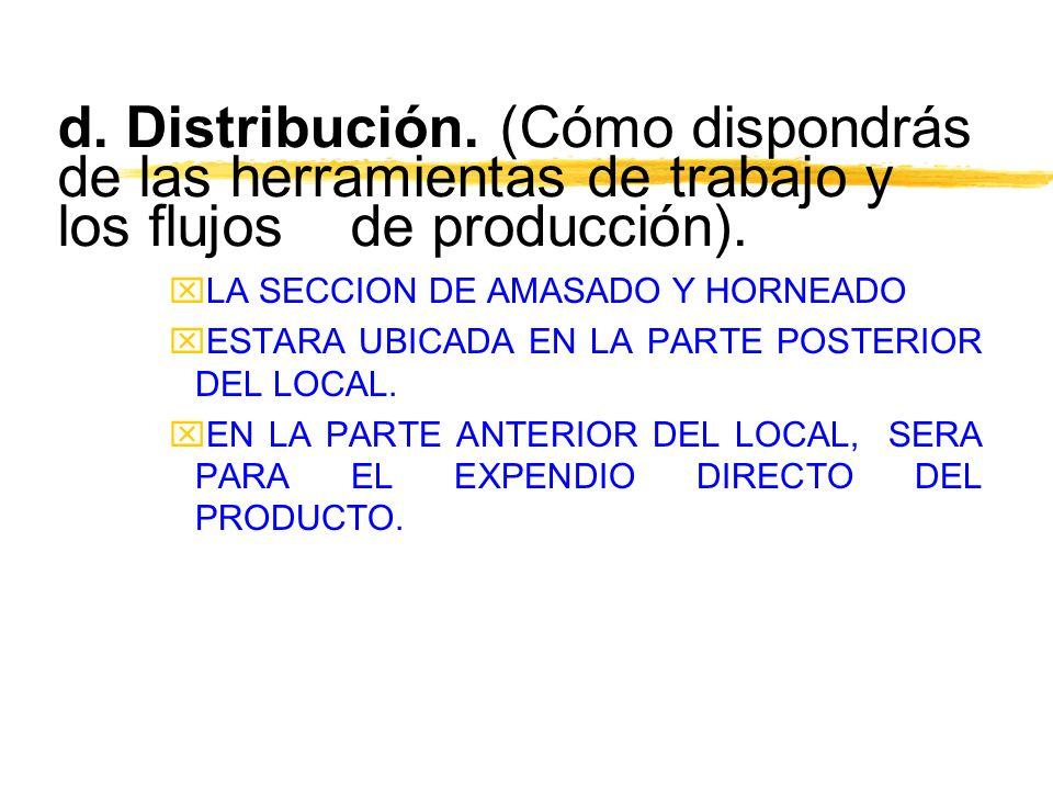 d. Distribución. (Cómo dispondrás de las herramientas de trabajo y los flujos de producción).
