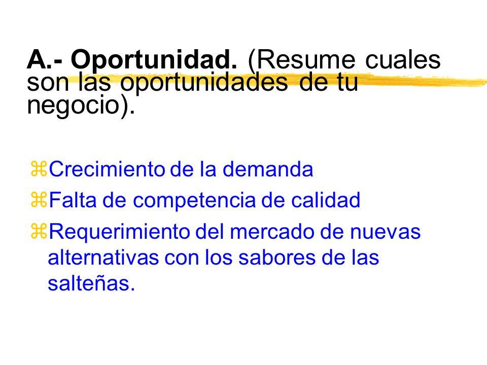 A.- Oportunidad. (Resume cuales son las oportunidades de tu negocio).