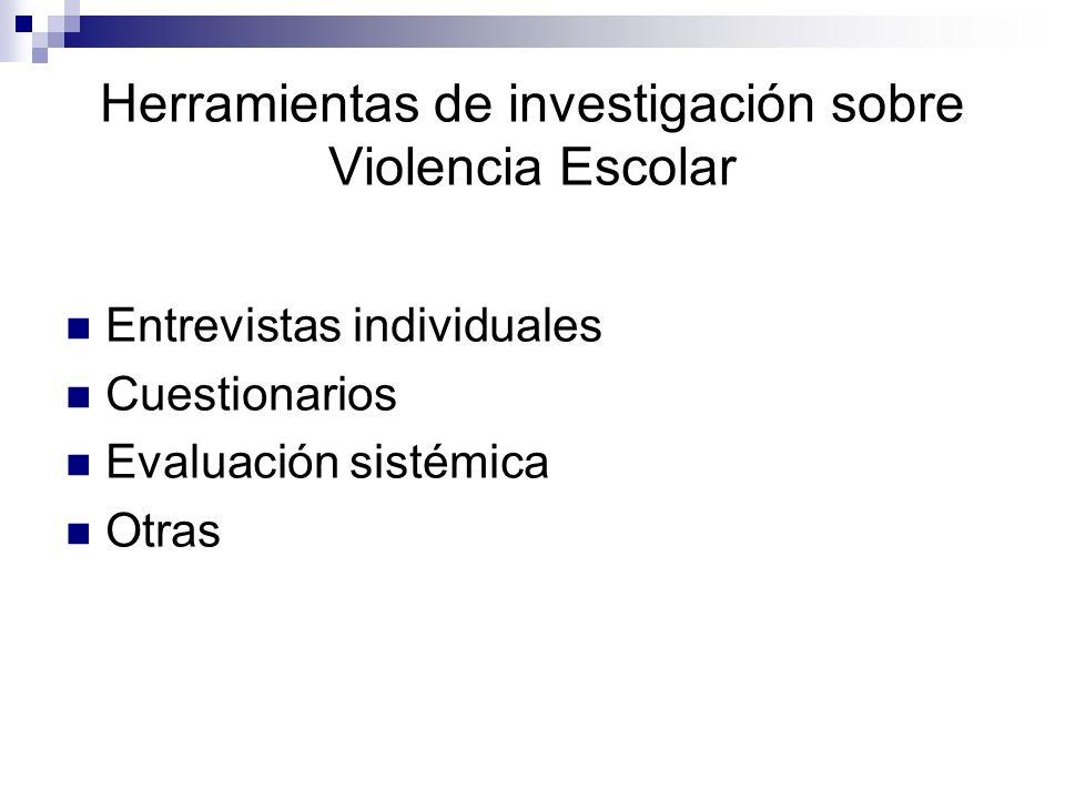 Herramientas de investigación sobre Violencia Escolar