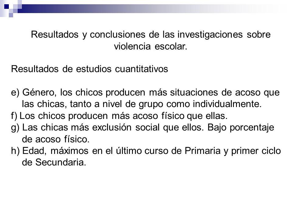 Resultados y conclusiones de las investigaciones sobre violencia escolar.