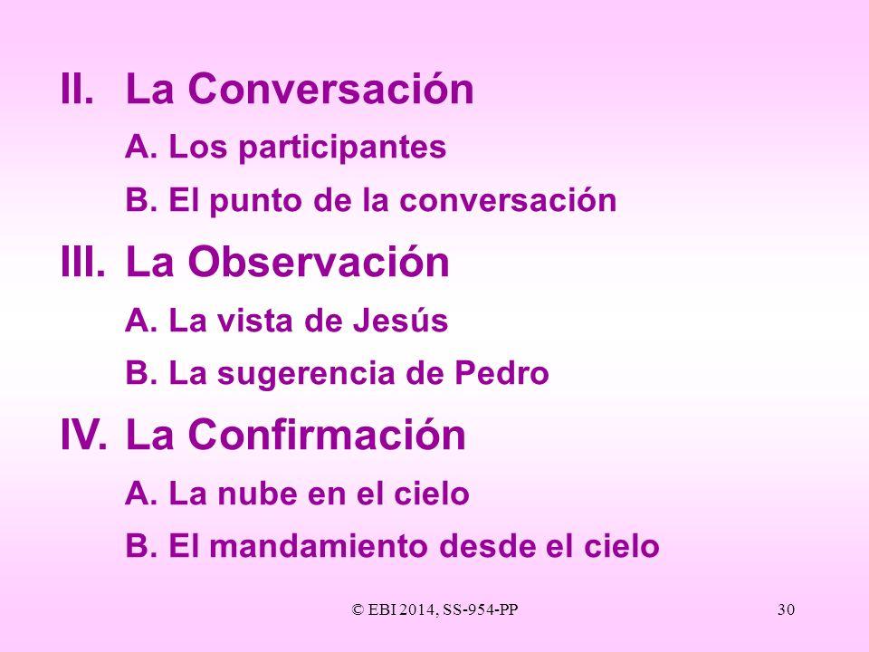II. La Conversación III. La Observación IV. La Confirmación