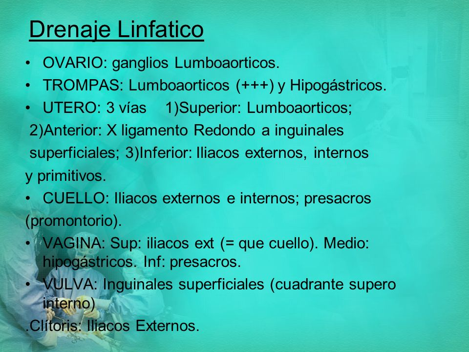 Drenaje Linfatico OVARIO: ganglios Lumboaorticos.