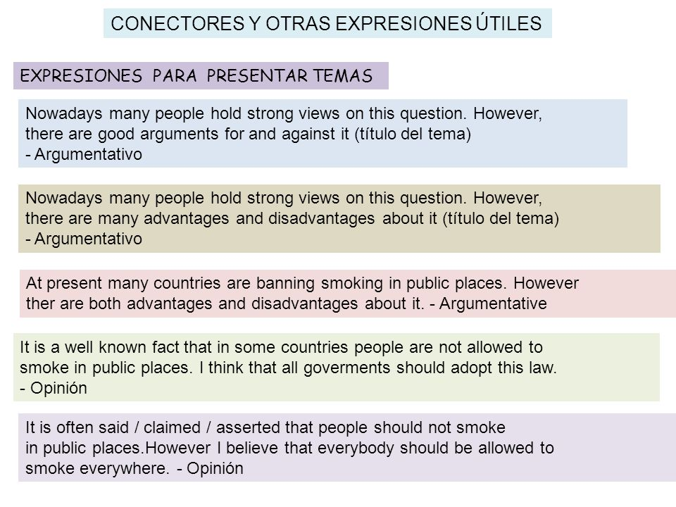 CONECTORES Y OTRAS EXPRESIONES ÚTILES