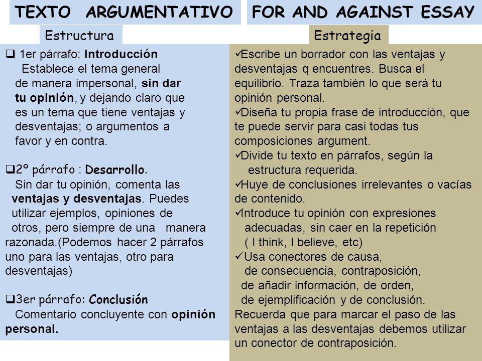 TEXTO ARGUMENTATIVO FOR AND AGAINST ESSAY Estructura Estrategias