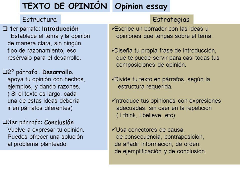 TEXTO DE OPINIÓN Opinion essay Estructura Estrategias