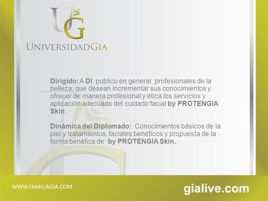 Dirigido: A DI, publico en general, profesionales de la belleza; que desean incrementar sus conocimientos y ofrecer de manera profesional y ética los servicios y aplicación adecuado del cuidado facial by PROTENGIA Skin.