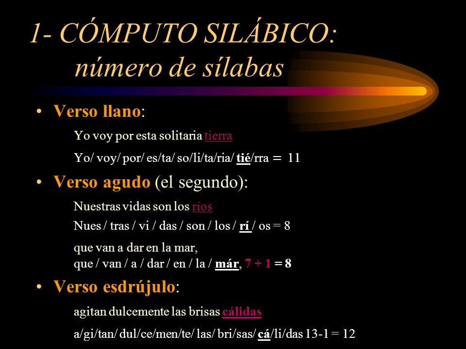 1- CÓMPUTO SILÁBICO: número de sílabas