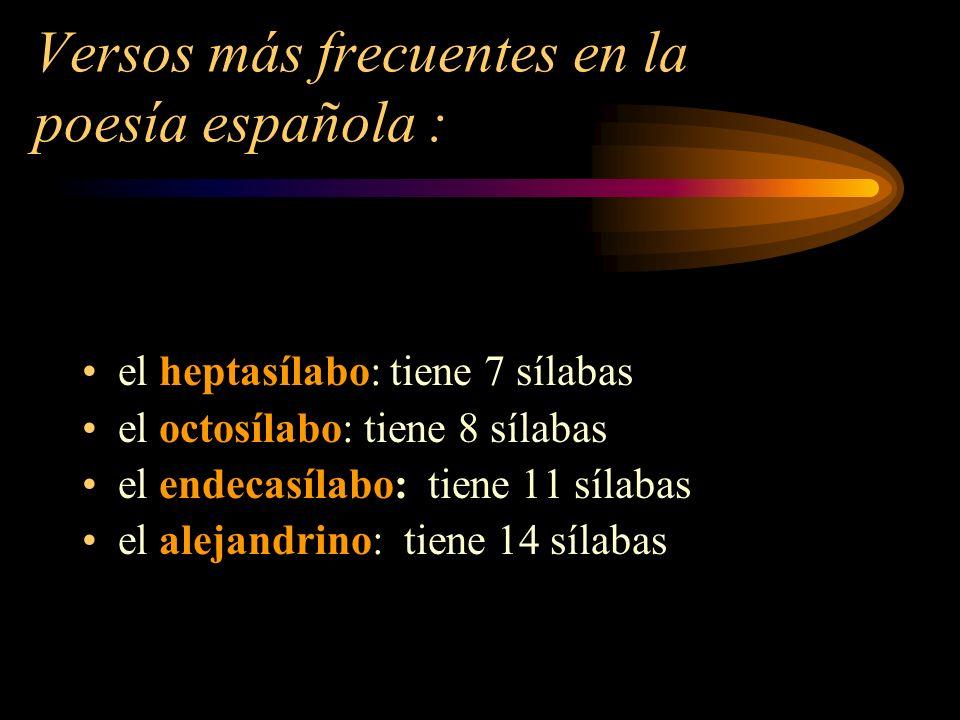 Versos más frecuentes en la poesía española :