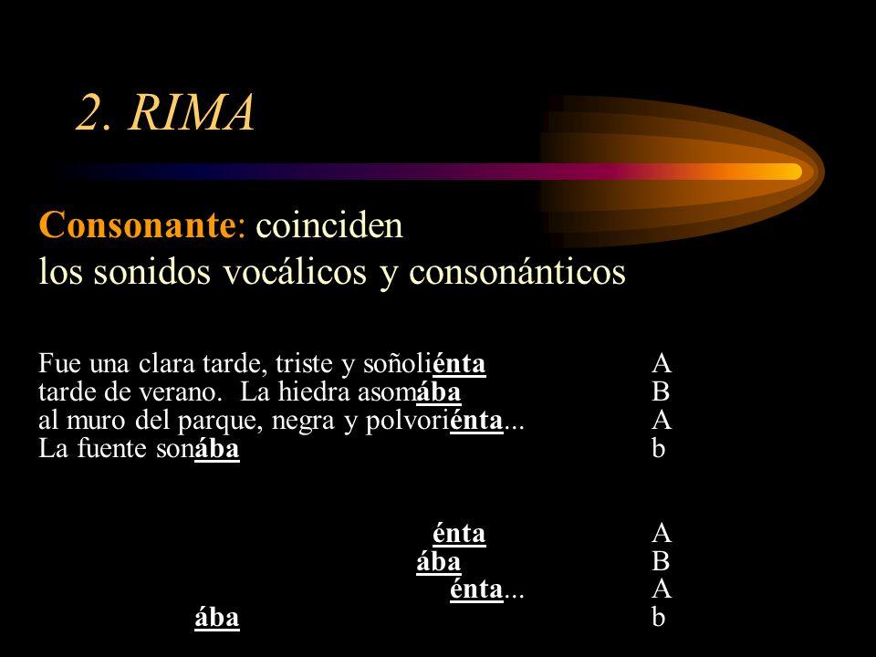 2. RIMA Consonante: coinciden los sonidos vocálicos y consonánticos
