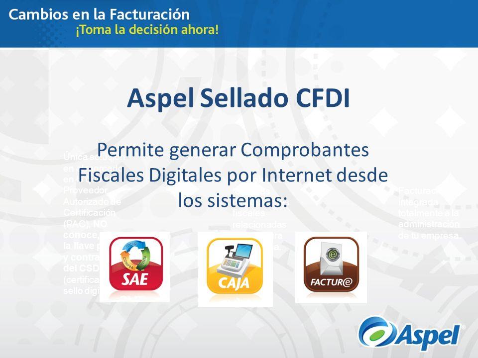 Aspel Sellado CFDI Permite generar Comprobantes Fiscales Digitales por Internet desde los sistemas: