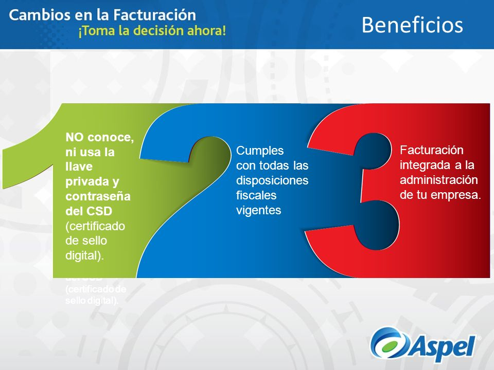 Beneficios NO conoce, ni usa la llave privada y contraseña del CSD (certificado de sello digital). Cumples.