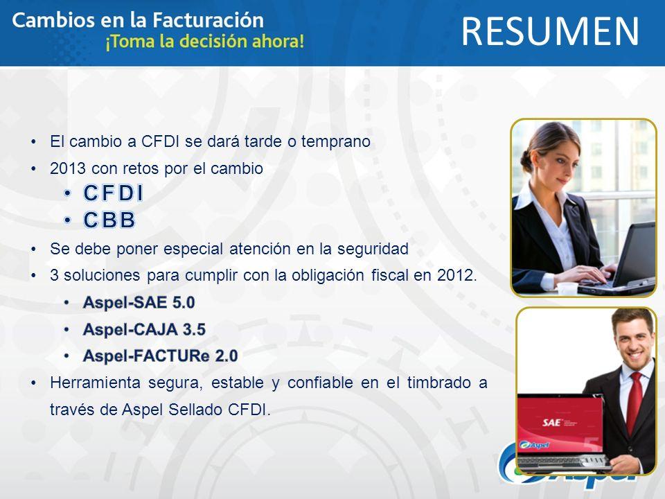 RESUMEN CFDI CBB El cambio a CFDI se dará tarde o temprano