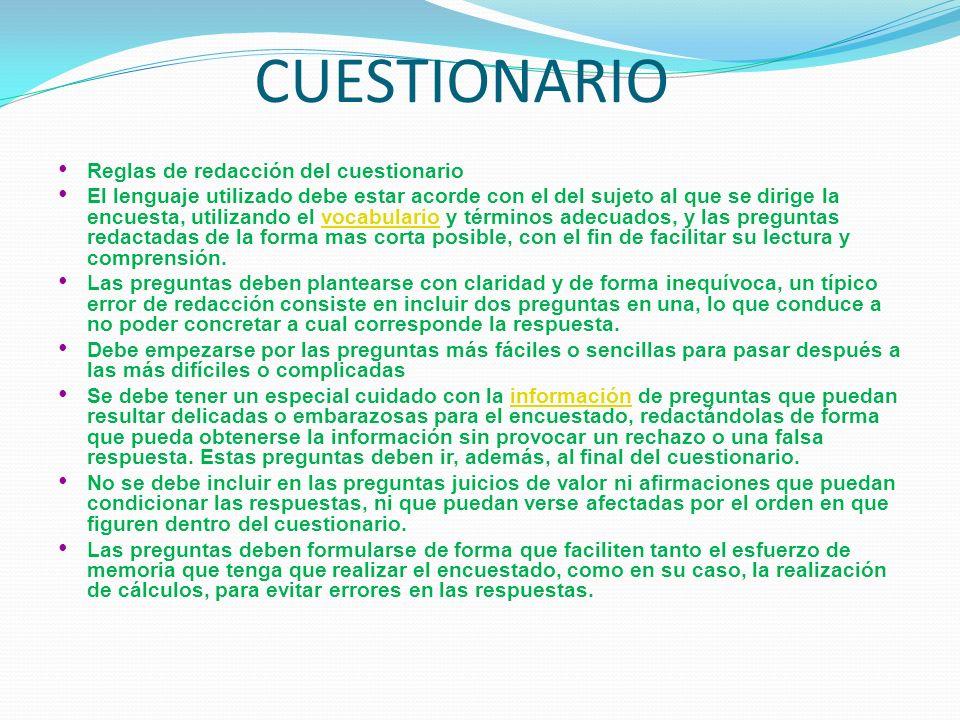 CUESTIONARIO Reglas de redacción del cuestionario