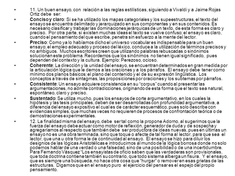 11. Un buen ensayo, con relación a las reglas estilísticas, siguiendo a Vivaldi y a Jaime Rojas Ortiz debe ser: