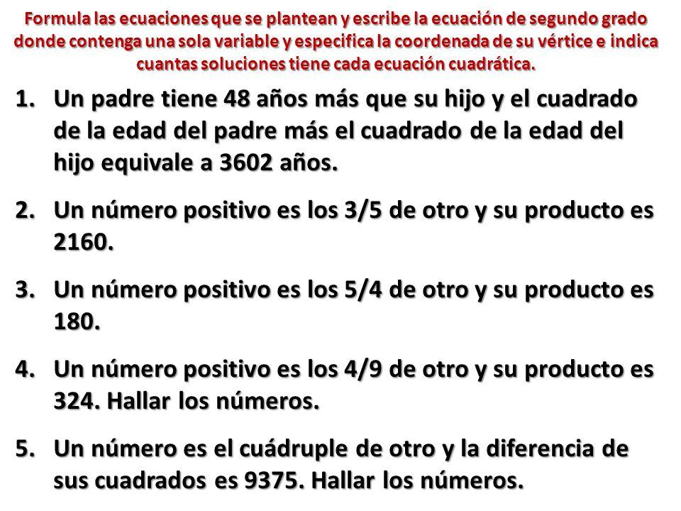 Un número positivo es los 3/5 de otro y su producto es 2160.