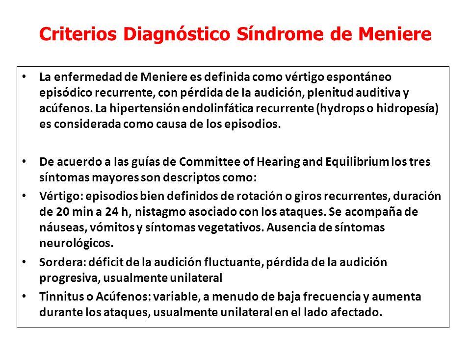 Criterios Diagnóstico Síndrome de Meniere