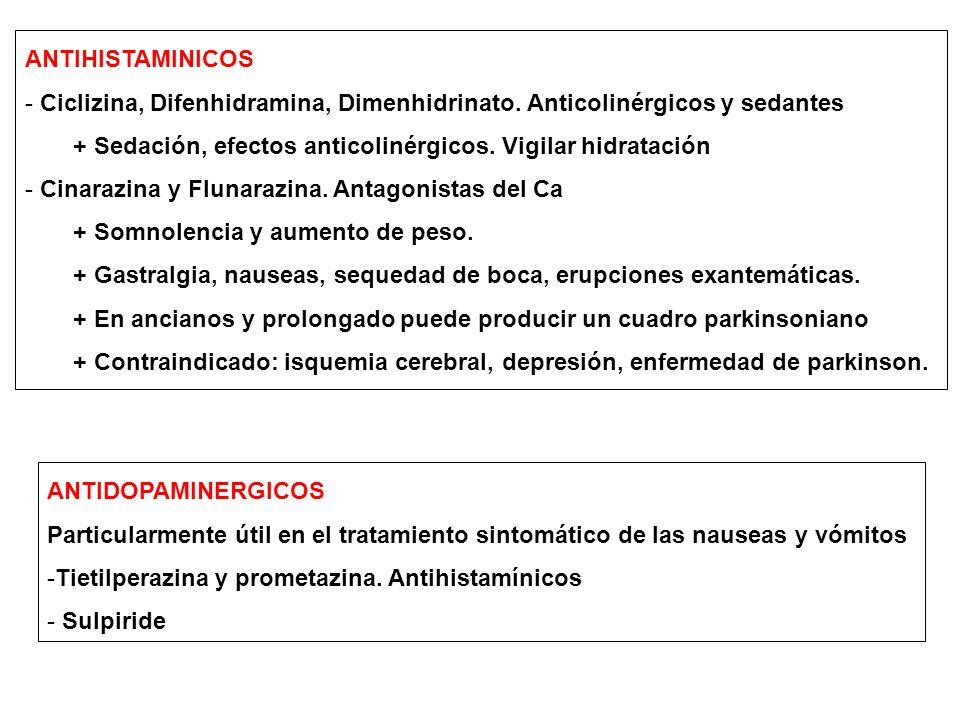 ANTIHISTAMINICOS Ciclizina, Difenhidramina, Dimenhidrinato. Anticolinérgicos y sedantes. + Sedación, efectos anticolinérgicos. Vigilar hidratación.