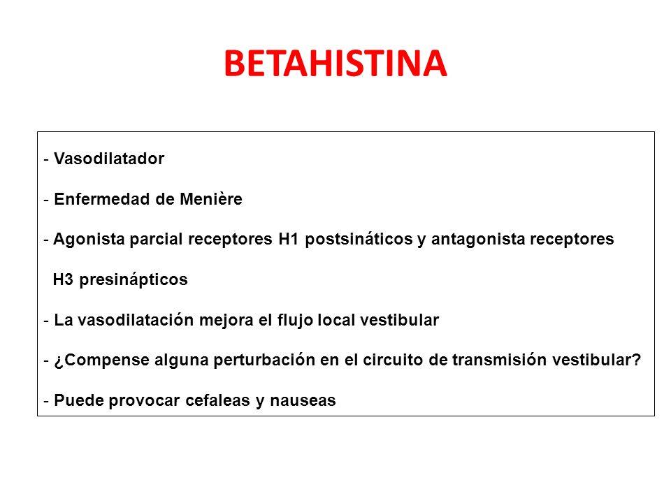 BETAHISTINA Vasodilatador Enfermedad de Menière