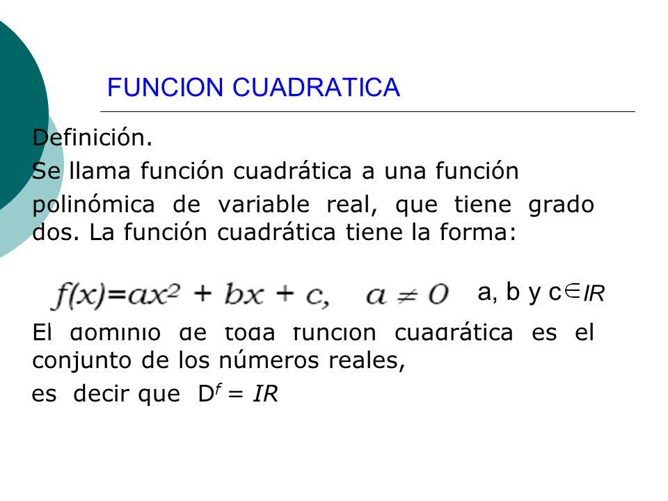 FUNCION CUADRATICA a, b y c Definición.