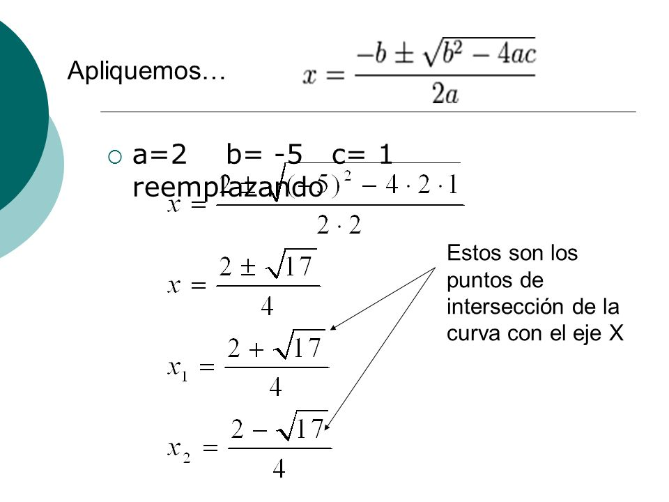 a=2 b= -5 c= 1 reemplazando Apliquemos…