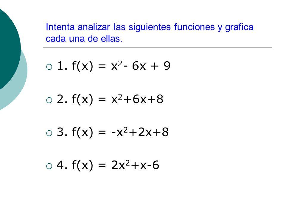 Intenta analizar las siguientes funciones y grafica cada una de ellas.