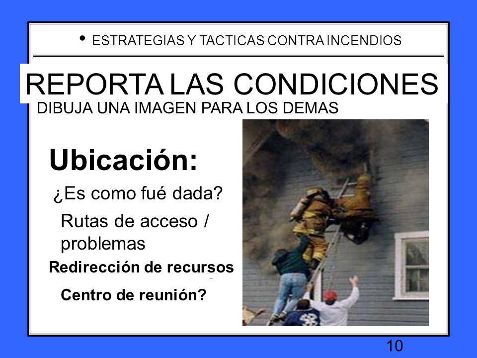 REPORTA LAS CONDICIONES REPORT ON CONDITIONS