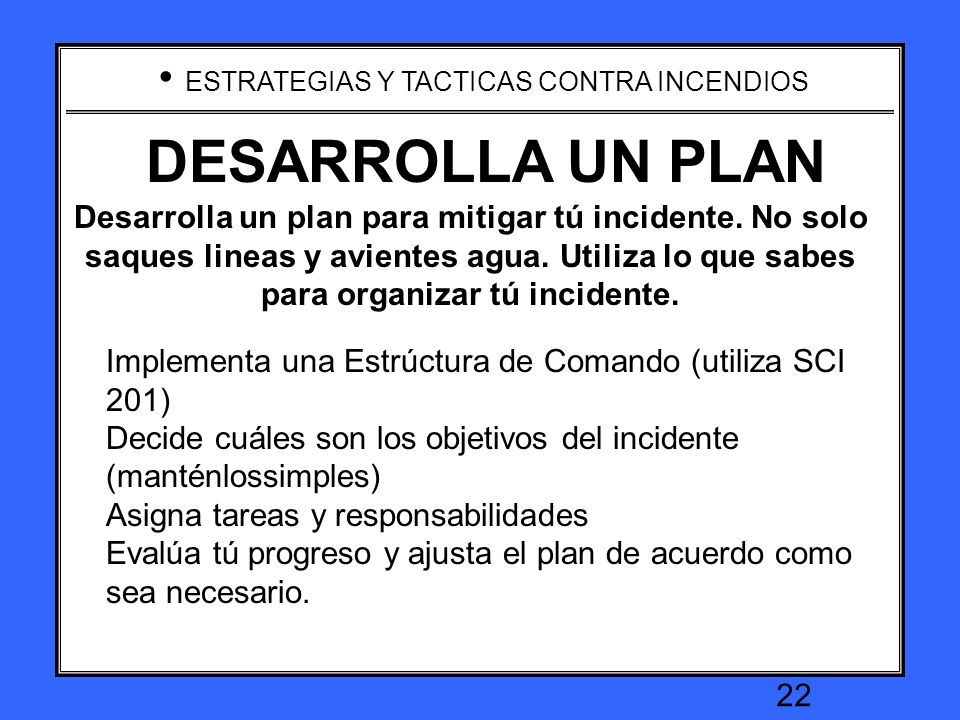 DEVELOP A PLAN DESARROLLA UN PLAN